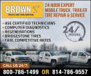 Brown's Truck Service, LLC.  100 Mile Radius logo