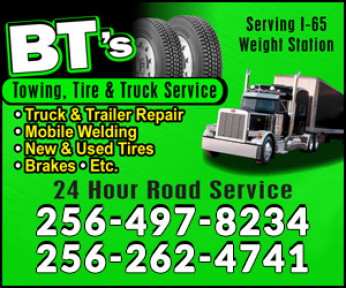 BT'S Towing, Tire, Truck Service Logo