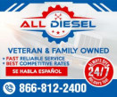 ALL DIESEL TRUCK, TRAILER & REEFER REPAIR INC logo
