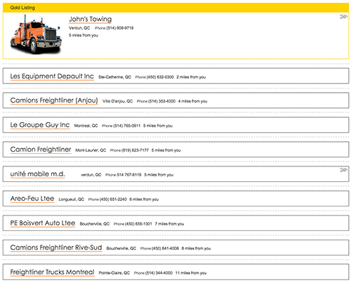 A screenshot of Road Service Search Results